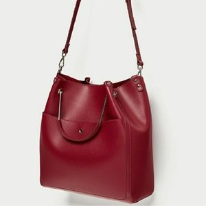 Red Tote with Metal Handle